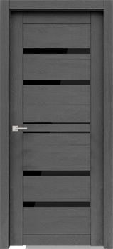Дверь экошпон Велюкс 01 (Лакобель черный)  - фото 37601